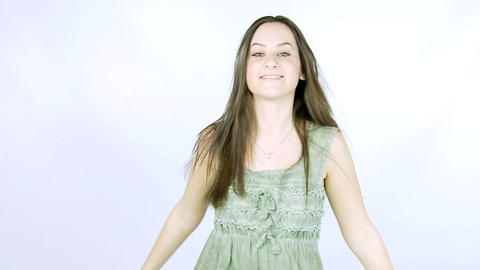 Young brunette dancing slow motion Stock Video Footage