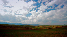 Landscape with fast moving clouds, time lapse Stock Video Footage