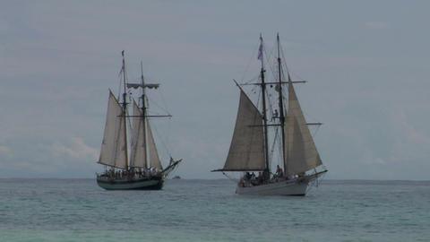 schooner battle 01 Stock Video Footage