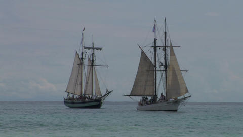 schooner battle 01 Stock Video Footage