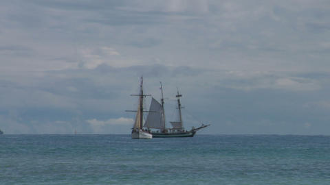 schooner battle 03 Stock Video Footage