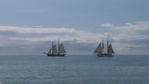 schooner battle 05 Stock Video Footage