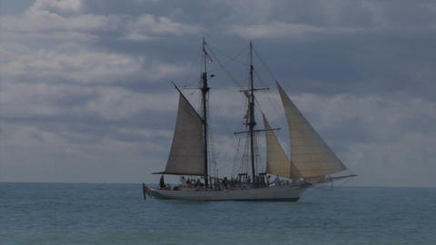 schooner cannon 02 Stock Video Footage