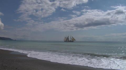 schooner harbor 01 Stock Video Footage