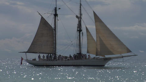 schooner harbor 03 Stock Video Footage