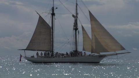 schooner harbor 03 Stock Video Footage