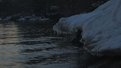 Winter night landscape in Towada Lake,Aomori,Japan Stock Video Footage