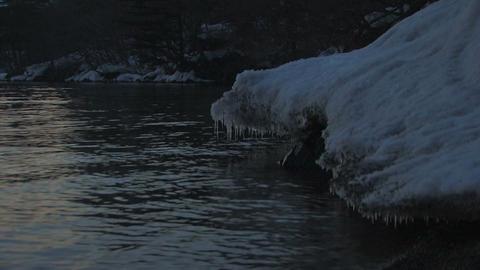 Winter night landscape in Towada Lake,Aomori,Japan Stock Video Footage