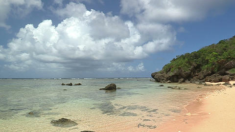 Beach and Horizontal line in Iriomote island,Okinawa,Japan_1 Stock Video Footage
