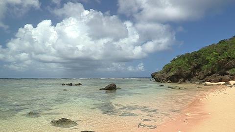 Beach and Horizontal line in Iriomote island,Okinawa,Japan_1 Stock Video Footage