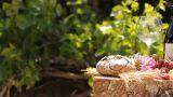 Wine Blue Cheese Gouda Bread Grape Food Parmesan S stock footage