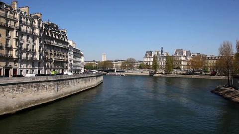 Sailing on The Seine Stock Video Footage