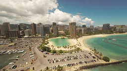 Aerial Shoot Kahanamoku Beach. Waikiki. Honolulu. Island O'ahu. Hawaii. View Of  stock footage