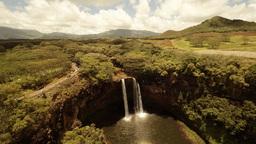 Aerial Shoot Waterfall Wailua Falls In Wailua River State Park. Hawaii. Kaua'i stock footage