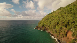 Aerial Shoot Wild Hanakapiai Beach. Island Kauai. Hawaii stock footage