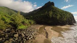 Aerial Shot Hanakapi'ai Beach With Hills On A Background. Island Kauai. Hawaii stock footage