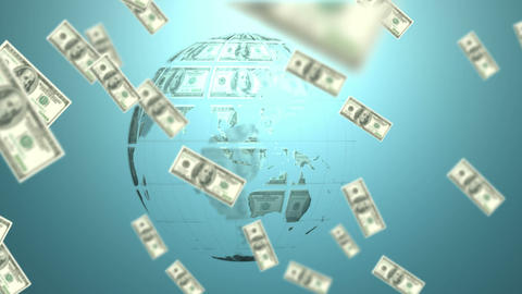 Money coming on and earth made of dollars Animation