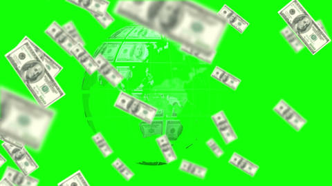 Money coming on and earth made of dollars on green screen background Animation