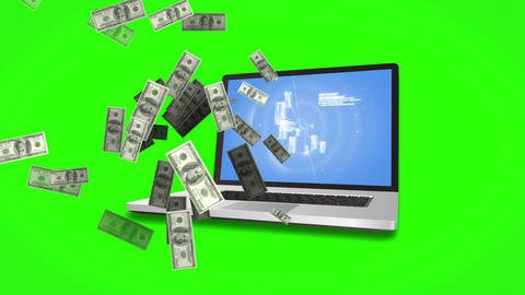 Money coming out of a laptop on green screen background Animation