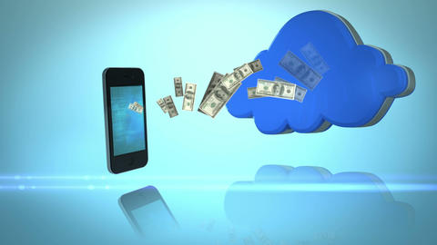 Money coming out of a smartphone and coming in a cloud Animation