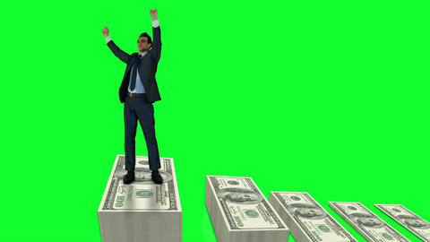 Businessman cheering on money pile Animation