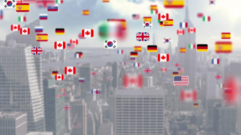 National flag flying away on city background Animation