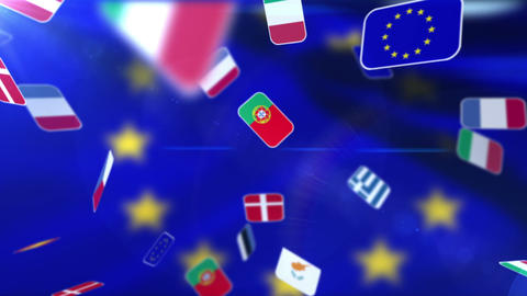 National flags flyings away on European flag Animation