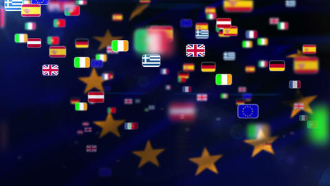 European Nationals flags flying away on European flag Animation