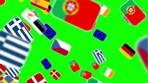 European Nationals Flags Flying Away On Green Screen stock footage