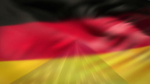 USA and German nationals flags in the wind Animation