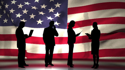 Business people in front of USA flag Animation