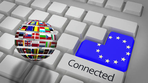 Nationals flags of European country turning on keyboard Animation
