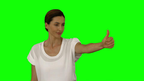 Happy businesswoman showing thumbs up Footage