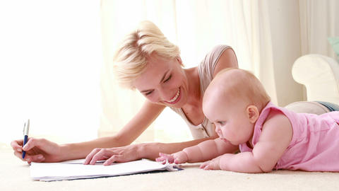 Happy Mum With Her Baby Daughter stock footage