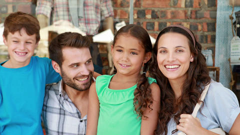 Happy Family Looking At Camera stock footage