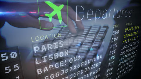 A Man Typing On His Laptop In An Airport stock footage
