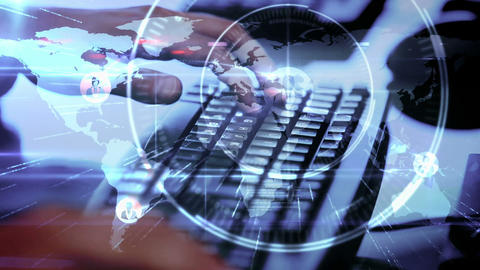 A man typing on his computer and networking Animation