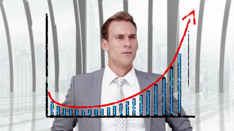 A businessman using a graphic interface Animation