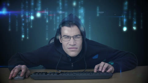 A hacker surfing on data Animation