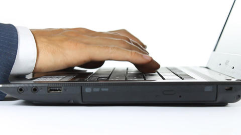 Closeup Hand of Businessman Typing on Laptop Computer Footage