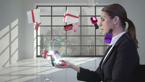 Pretty woman looking at e-shopping offer on smartphone Animation