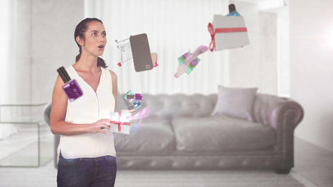 Surprised woman holding tablet computer and discovering e-shopping offer Animation