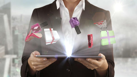 Woman presenting e-shopping concept with tablet computer Animation