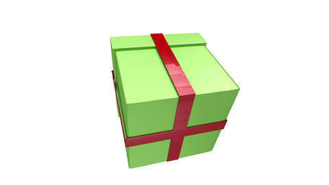 Green gift floating on white background with alpha channel Animation