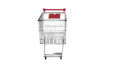 Trolley turning on white background with alpha channel Animation