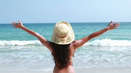 Rear view of pretty brunette standing with arms outstretched Footage