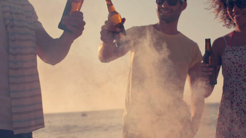 Happy friends toasting beers on the beach Footage