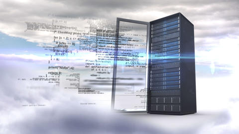 Open server tower on cloudy sky background Animation