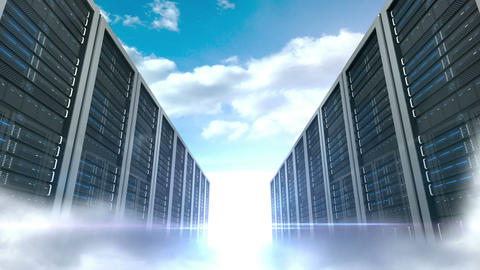 Server tower on cloudy sky background, Stock Animation