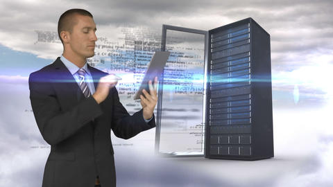 Businessman using tablet computer in front of server tower on sky background Animation